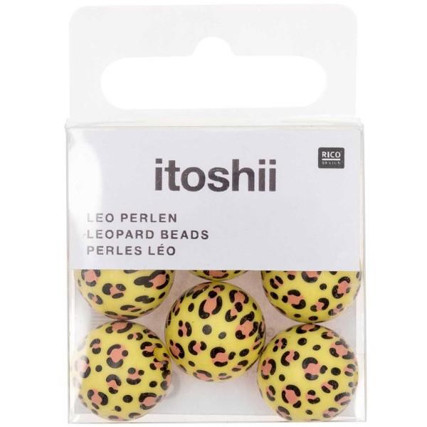 Lot de perles rondes fantaisies 16 mm - Motif Léopard Jaune - 6 pcs - Photo n°3