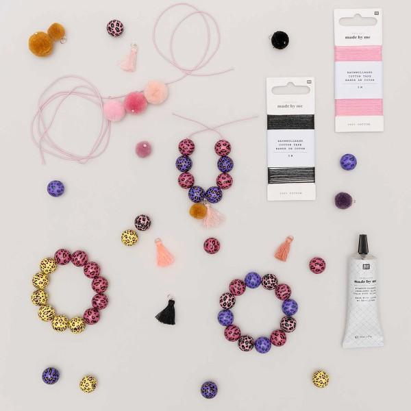 Lot de perles rondes fantaisies 16 mm - Motif Léopard Jaune - 6 pcs - Photo n°4