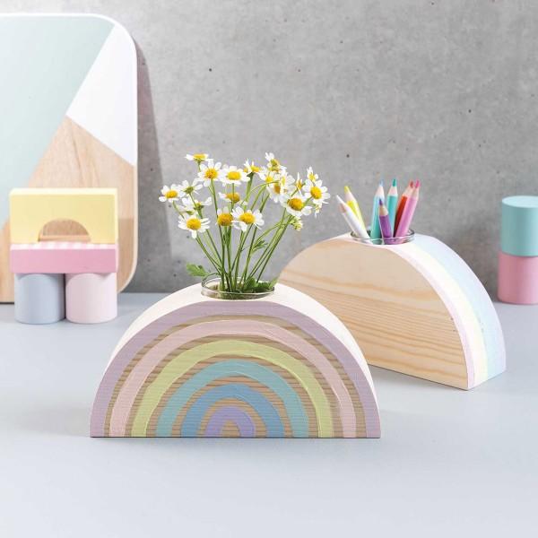 Demi- cercle en bois support vase - Grand Modèle - 18 x 9 x 5 cm - Photo n°4