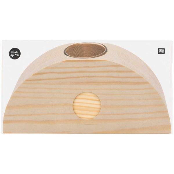 Demi- cercle en bois support vase - Grand Modèle - 18 x 9 x 5 cm - Photo n°5