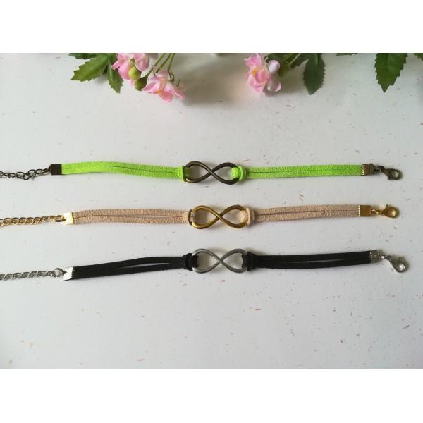 Kits de bracelet suédine noir, vert et chair avec lien infini - Lot de 3 - Photo n°2