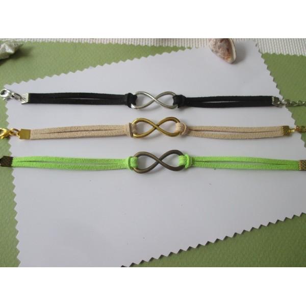 Kits de bracelet suédine noir, vert et chair avec lien infini - Lot de 3 - Photo n°1