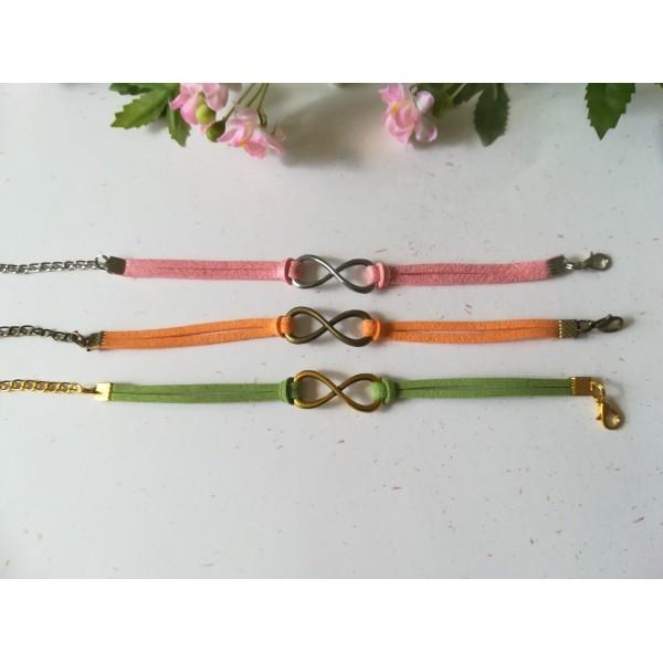 Kits de bracelet suédine rose, vert et orange avec lien infini - Lot de 3 - Photo n°2