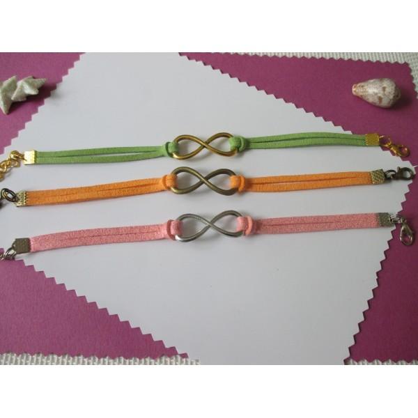 Kits de bracelet suédine rose, vert et orange avec lien infini - Lot de 3 - Photo n°1