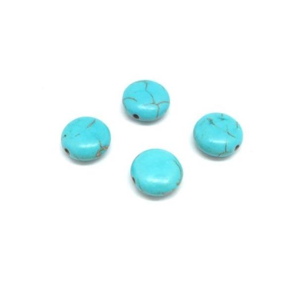 10 Perles Galet 12mm Bleu Turquoise Imitation