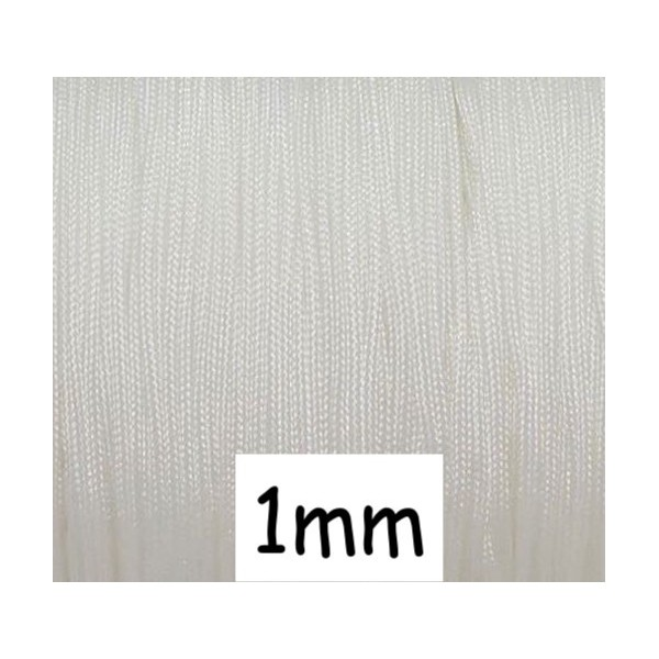 10m Fil De Jade 1mm Blanc - Idéal Noeud Coulissant - Wrap - Shamballa - Photo n°1