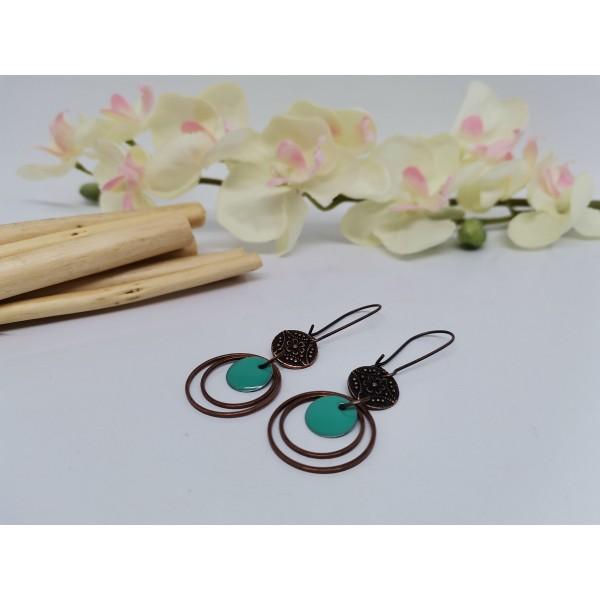 Kit boucles d'oreilles anneaux cuivre rouge et sequin émail turquoise - Photo n°2