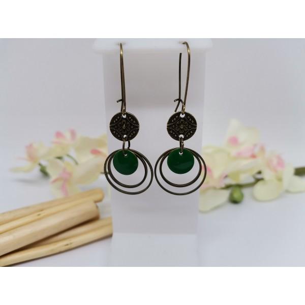 Kit boucles d'oreilles anneaux bronze et sequin émail vert foncé - Photo n°1