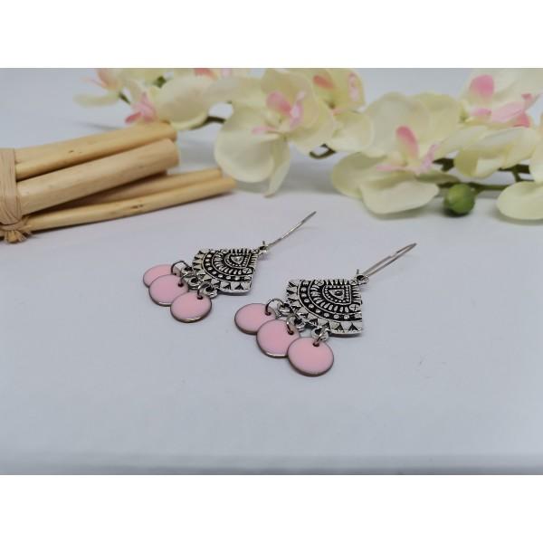 Kit boucles d'oreilles pendentif éventail et sequin émail rose - Photo n°2
