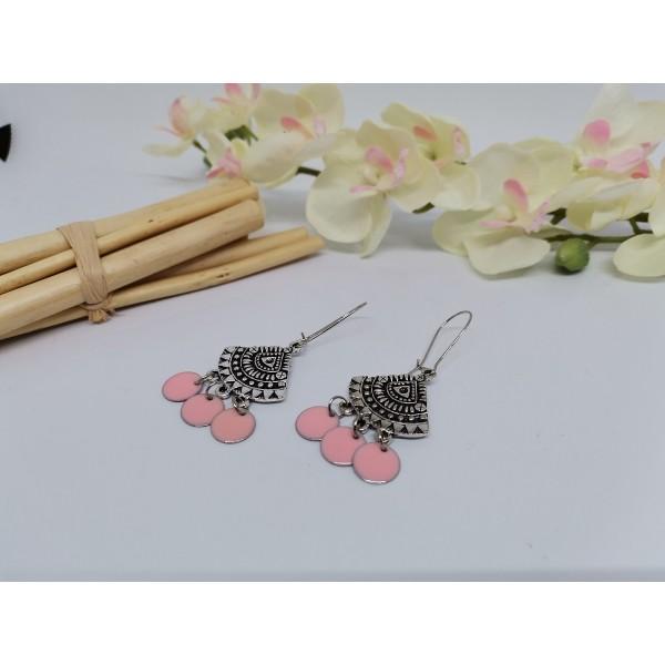 Kit boucles d'oreilles pendentif éventail et sequin émail rose saumon - Photo n°2