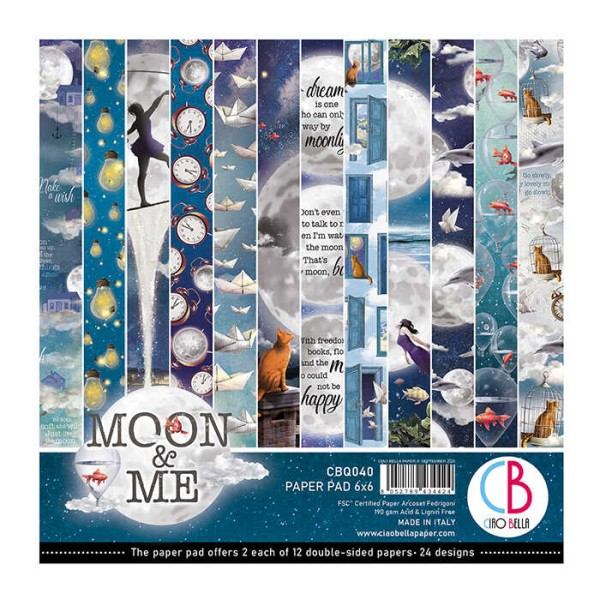 Papier scrapbooking Ciao Bella - Moon and Me - 15x15 - 24 feuilles - Photo n°1