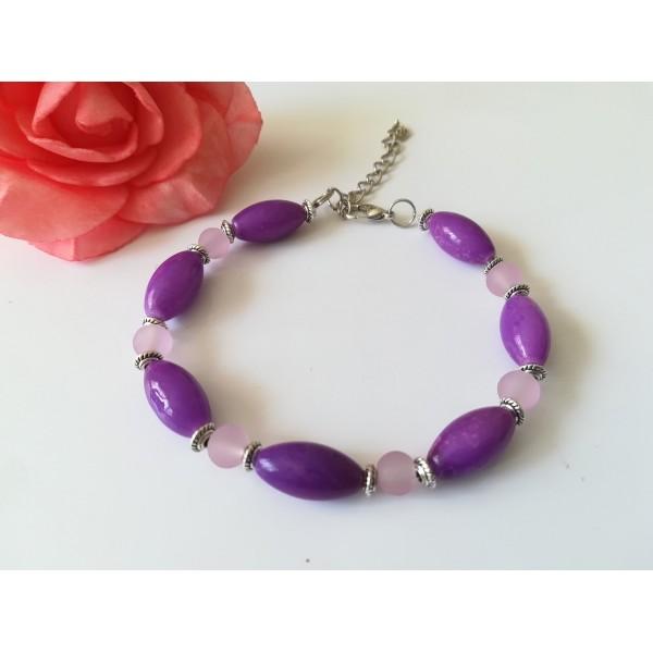 Kit bracelet perles en verre violette et mauve - Photo n°2