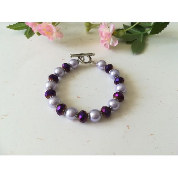 Kit bracelet perles en verre violette et mauve - Photo n°3