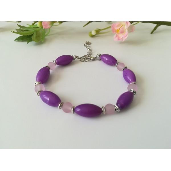 Kit bracelet perles en verre violette et mauve - Photo n°1