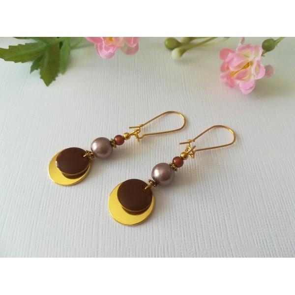 Kit de boucles d'oreilles apprêts dorés et sequin émail marron - Photo n°2