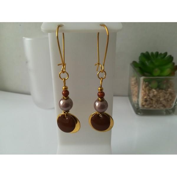 Kit de boucles d'oreilles apprêts dorés et sequin émail marron - Photo n°1