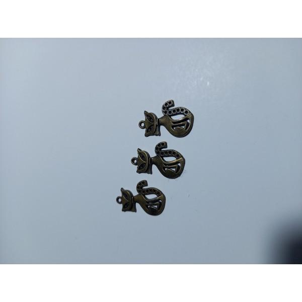 Breloque ,3 chats haut sur pattes en bronze , , 2,5 cm - Photo n°1