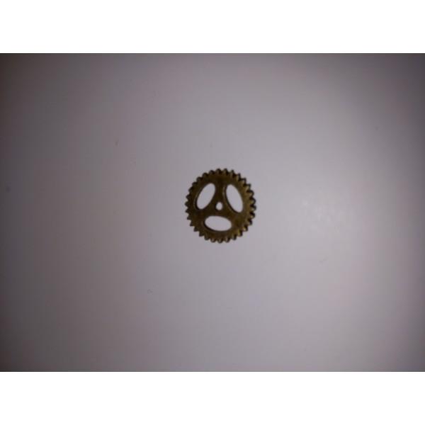 Breloque ,une roue à dents en bronzes prêt pour la mécanique. , , 1,5 cm - Photo n°1