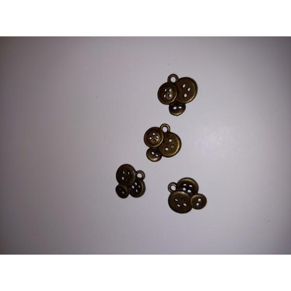 Breloque  3 boutons sur une breloque en 4 exemplaires en bronze , 1,5 cm - Photo n°1