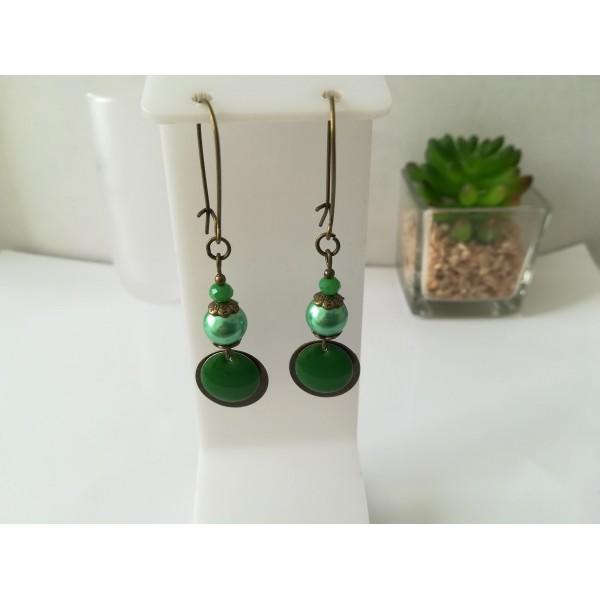 Kit de boucles d'oreilles apprêts bronze et sequin émail vert - Photo n°1