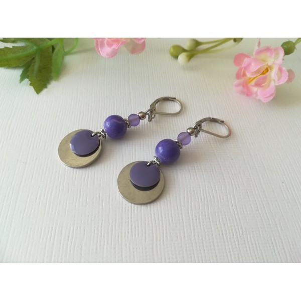 Kit de boucles d'oreilles apprêts argent mat et sequin émail violet - Photo n°2