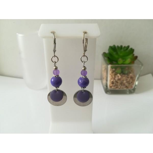 Kit de boucles d'oreilles apprêts argent mat et sequin émail violet - Photo n°1