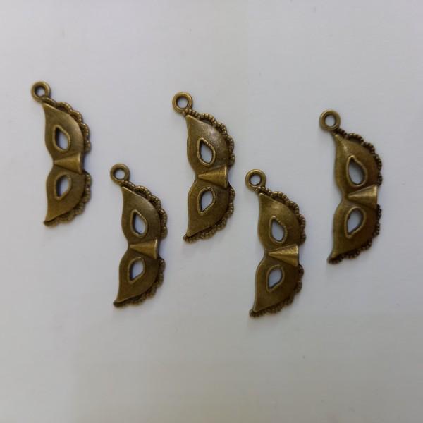 Breloque 5 masques vénitiens métal bronze - Photo n°1