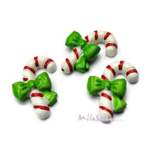 Cabochons cannes de noel résine multicolore - 3 pièces - Photo n°1