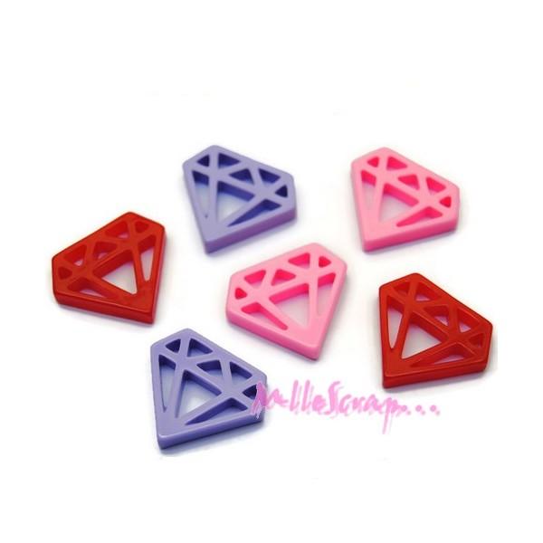 Cabochons diamants résine multicolore - 6 pièces - Photo n°1