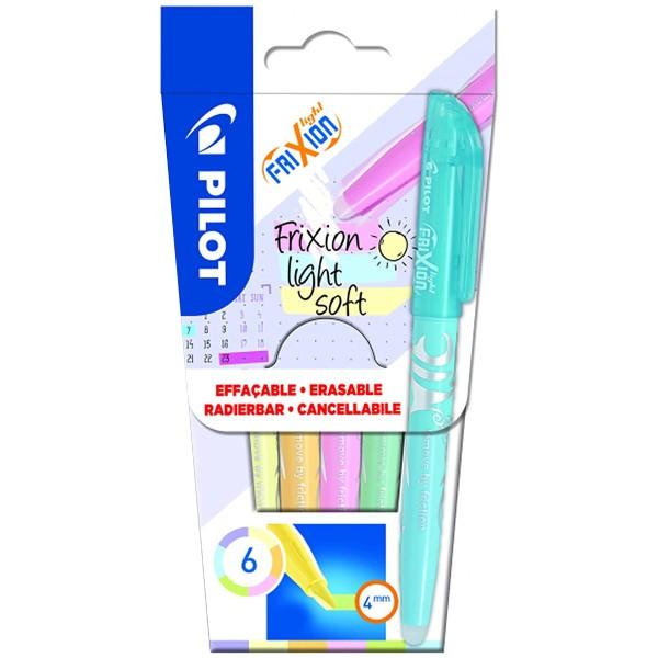 Assortiment de surligneurs Pilot - Frixion Light Soft - 6 pcs - Photo n°1