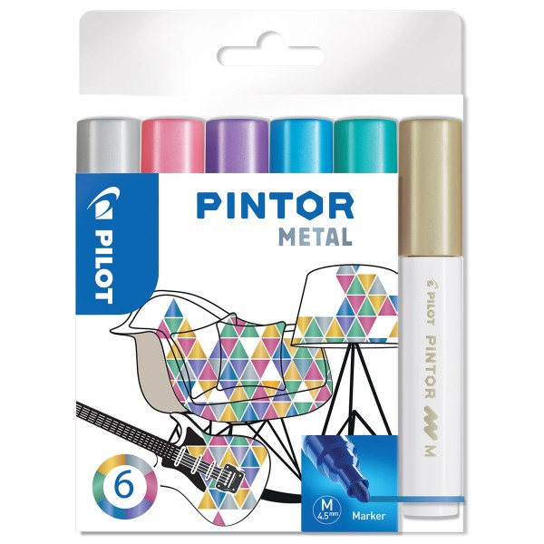 Assortiment de Feutres Pintor - Pointe Moyenne - Metal Mix - 6 pcs - Photo n°1