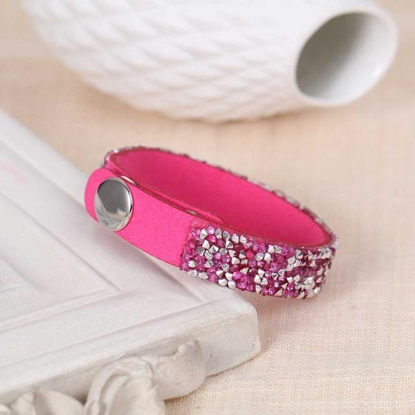 Bracelet suédine réglable fuchsia et strass - Photo n°2