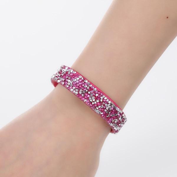 Bracelet suédine réglable fuchsia et strass - Photo n°3
