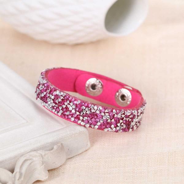 Bracelet suédine réglable fuchsia et strass - Photo n°1