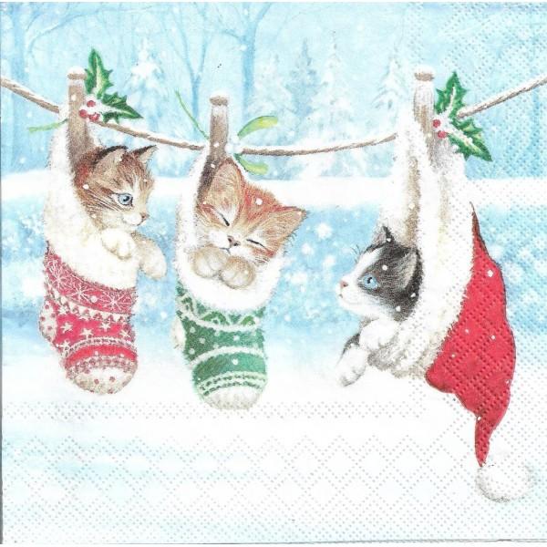 4 Serviettes en papier Chatons Bonnet de Noël Format Lunch Decoupage 33314800 Ambiente - Photo n°2
