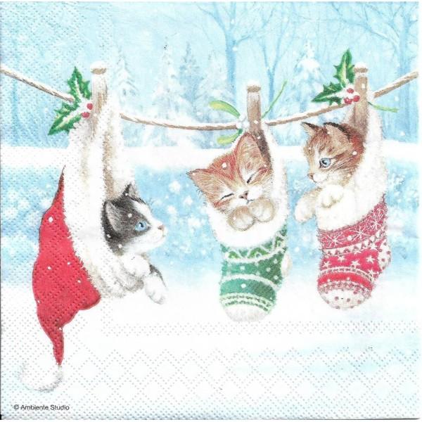4 Serviettes en papier Chatons Bonnet de Noël Format Lunch Decoupage 33314800 Ambiente - Photo n°1