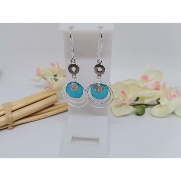 Kit boucles d'oreilles anneaux argentés et sequin nacre bleu ciel - Photo n°1