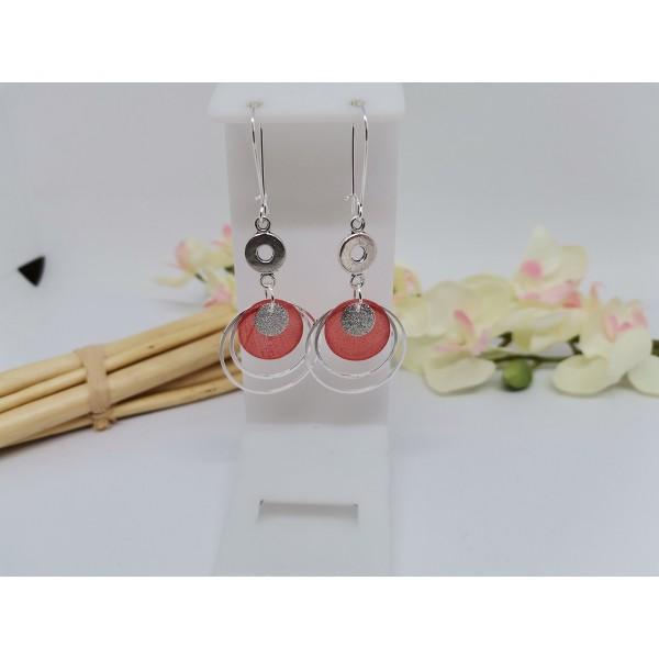 Kit boucles d'oreilles anneaux argentés et sequin nacre rouge - Photo n°1