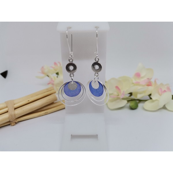 Kit boucles d'oreilles anneaux argentés et sequin nacre bleu nuit - Photo n°1