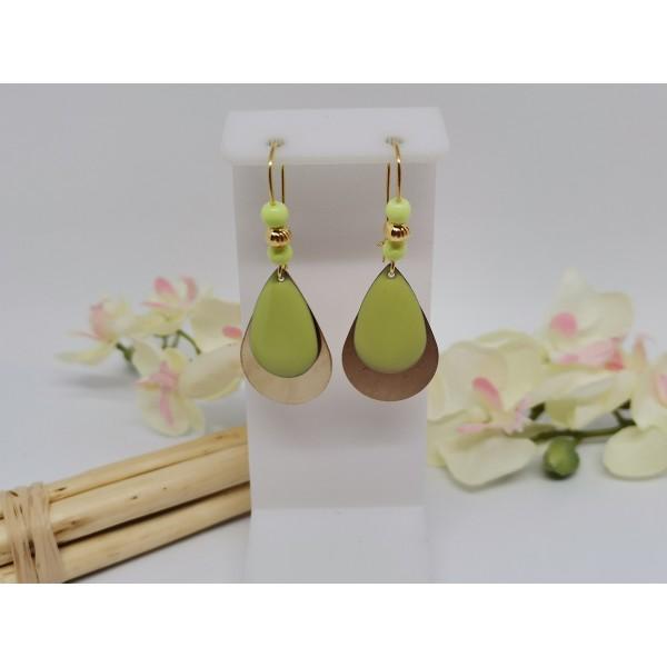 Kit de boucles d'oreilles gouttes métal doré et sequin émail vert anis - Photo n°1