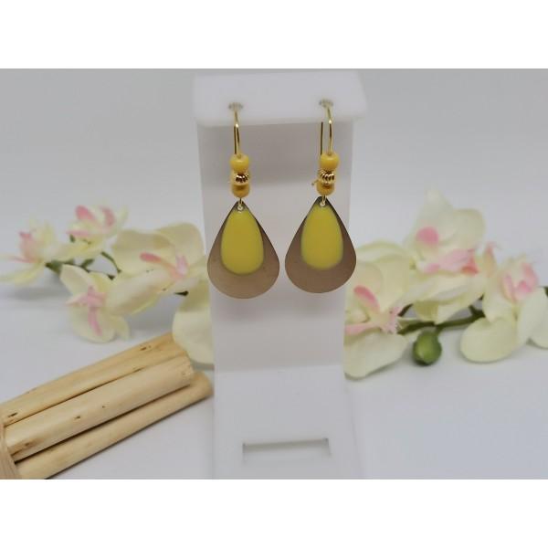 Kit de boucles d'oreilles gouttes métal doré et sequin émail jaune - Photo n°1
