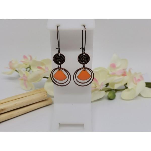Kit boucles d'oreilles anneaux cuivre rouge et sequin émail orange - Photo n°1