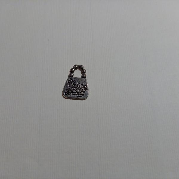 Breloque, un sac à main  sur  votre poignée ....1.50 cm en métal blanc - Photo n°1