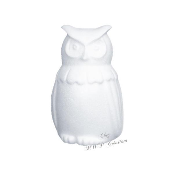 Hibou 15 Cm Polystyrène Blanc - Photo n°1
