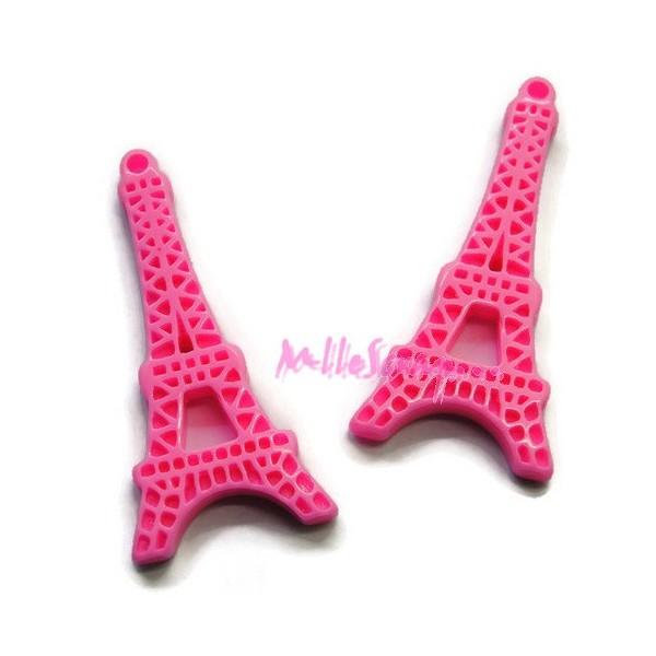 Cabochons Tour Eiffel résine rose - 2 pièces - Photo n°1
