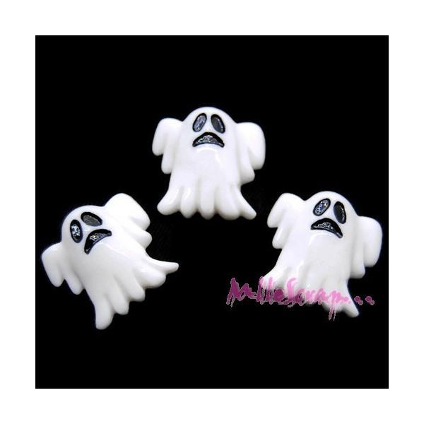 Cabochons fantômes résine blanc - 3 pièces - Photo n°1