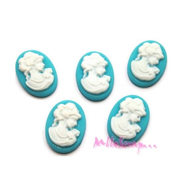 Mini cabochons femmes résine bleu - 5 pièces - Photo n°1