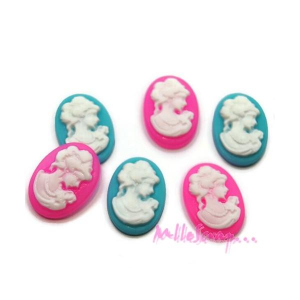 Mini cabochons femmes résine rose, bleu - 6 pièces - Photo n°1