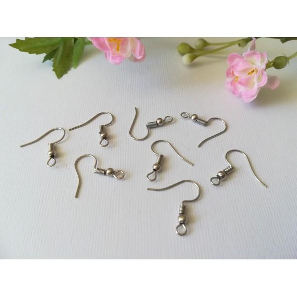 Crochets d'oreilles argent mat 18 mm x 50 - Photo n°1