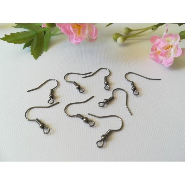 Crochets d'oreilles gunmétal 18 mm x 20 - Photo n°2